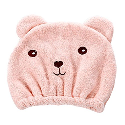 LiPing - LiPing Microfiber Animal Shower Caps Elastic Bathing Hair Cap Lady/Girl Salon Hat Quickly Dry Hair Towel Bathing Cap (pink)