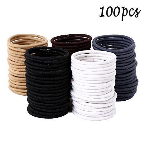 Whaline - Whaline 100 Pieces 4mm Hair Tie Ponytail Holders Rubber Hair Bands for Thick Heavy and Curly Hair (Multicolor)
