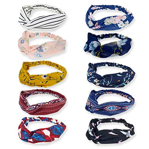 DRESHOW - DRESHOW 10 Pack Boho Headbands for Women Vintage Flower Printed Criss Cross Elastic Head Wrap Twisted Cute Hair Accessories