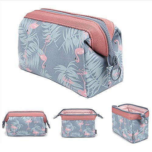 Maxtour - Makeup Bag Light Blue Flamingo Brush Organizer