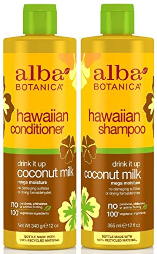 Alba Botanica Alba Botanica Drink It Up Coconut Milk, Hawaiian Duo Set Shampoo and Conditioner, 12 Ounce Bottle Each
