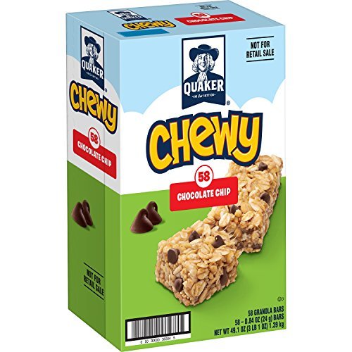 Quaker - Quaker Chewy Granola Bars, Chocolate Chip, 0.84 Ounce Bars, 58 Count