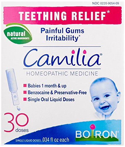 Boiron - Boiron Camilia, Baby Teething Relief, 30 Doses. Teething Drops for Painful Gums, Irritability. Benzocaine and Preservative-Free, Sterile Single Oral Liquid Doses, Natural Active Ingredient