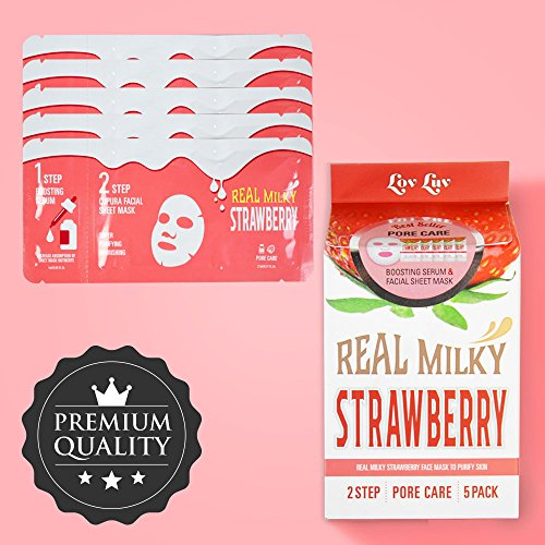 LOVLUV - LOVLUV Real Milky Strawberry Face Masks, K Beauty Moisturizing and Hydrating Facial Sheet Set, Two-Step Skin Care Essence [5 Pack]