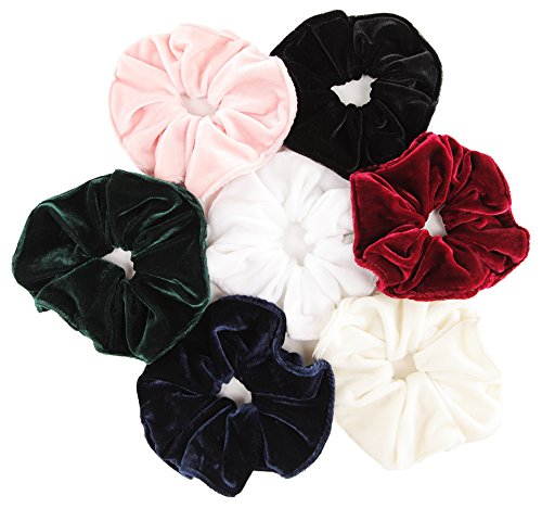 Madelyn - Velvet Scrunchies for Hair, 7 Pack