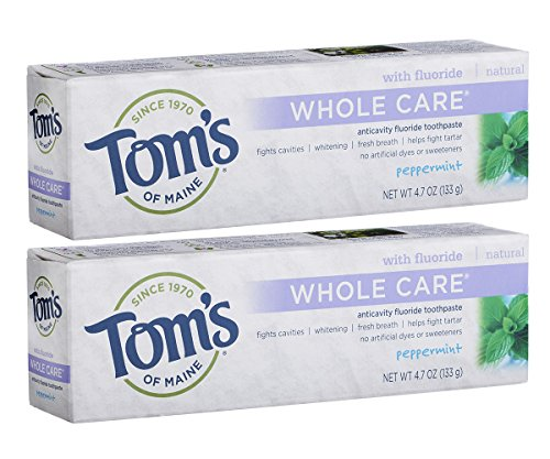 Tom's of Maine - Tom's of Maine Whole Care with Fluoride Natural Toothpaste, Peppermint 4.7 oz (Pack of 2)