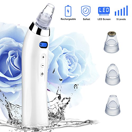 BueatyBella - Blackhead Remover Blackhead Vacuum Pore Vacuum Microdermabrasion Machine Bueatybella acne Extractor Comedo Suction Rechargeable Electric dermabrasion Facial Comedone Acne for Skin Tool set (white)
