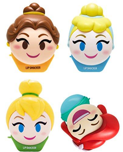 Lip Smacker - Lip Smacker Disney Emoji 4 Piece Lip Balm, Tinkerbell/Belle/Cinderella/Ariel, 1.04 Ounce
