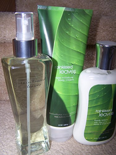 Bath & Body Works - 3 Piece Bath & Body Works Rainkissed Leaves Fragrance Gift Set- Fragrance Mist, Body Cream & Body Lotion (Rainkissed Leaves)