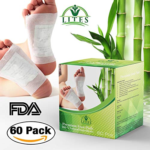 Lites - LITES Foot Pads - (60pcs) Premium Foot Patch, Relieve Stress | 100% Organic & Natural Ingredients Foot Pad Remove Impurities | Sleep Better & FDA CERTIFIED
