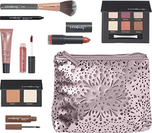 Ulta Beauty - Ulta Beauty Metallic Beauty Bag - 9 Pc - Complete makeup set with a bag - Perfect gift for holiday/Christmas - $73 Value (Pewter)