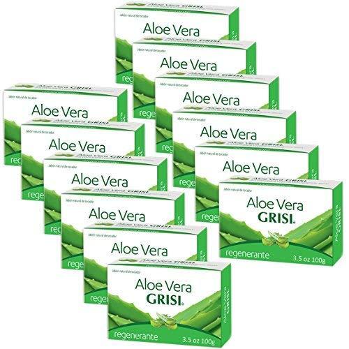 Manzanilla Grisi - 12pk - Aloe Vera Soap - Jabon de Sávila - Grisi (3.5 Oz. X 12 Units)