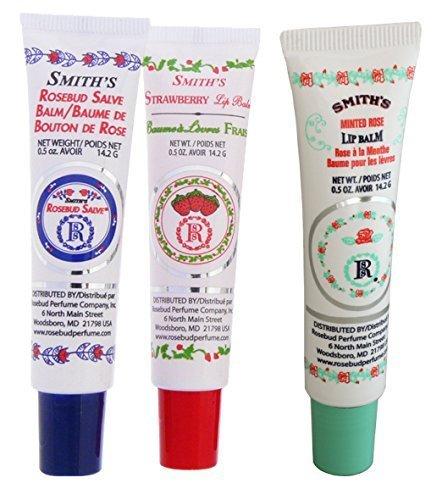 Rosebud Perfume Co. - Rosebud Perfume Co. Tube 3 Pack: Smith's Rosebud Salve + Smith's Strawberry Lip Balm + Smith's Minted Rose Lip Balm