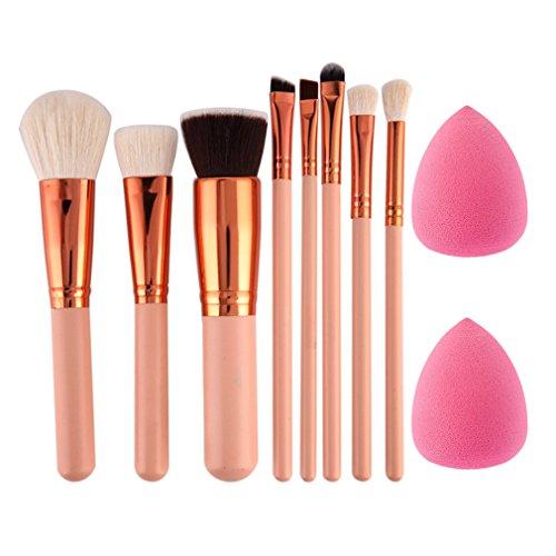 CHOUHOC - 8Pcs Eyeshadow Powder Blush Fondation Brush Make Up Tool 2Pc Sponge Puff Cosmetic Kit Pink
