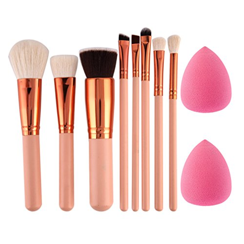 CHOUHOC - 8Pcs Eyeshadow Powder Blush Fondation Brush Make Up Tool 2Pc Sponge Puff Cosmetic Kit Pink