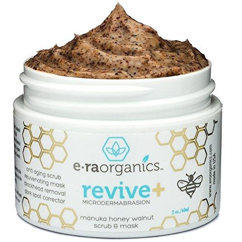 Era Organics - Microdermabrasion Face Scrub & Facial Mask - Manuka Honey & Walnut Natural Face Exfoliator for Dull or Dry Skin, Wrinkles, Blemishes, Acne Scars & More