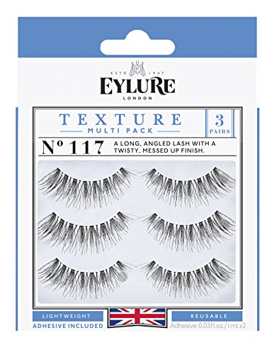 Eylure Eylure Texture False Lash, Style No. 117, Reusable, Adhesive Included, 3 Pair