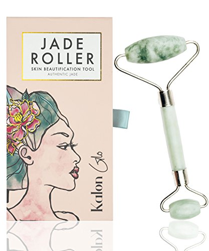 Kalon Glo - Jade Roller For Face | Facial, Neck, and Eye Massager Made of 100% Premium Authentic Jade Stone | Anti Aging Massage Therapy Beauty Tool Kit for Natural Glowing Skin - BONUS 3 Face Mask Sheets