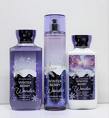 Bath & Body Works - Bath and Body Works Winter Berry Wonder Shower Gel, Body Lotion, Fine Fragrance Mist Daily Trio 2018