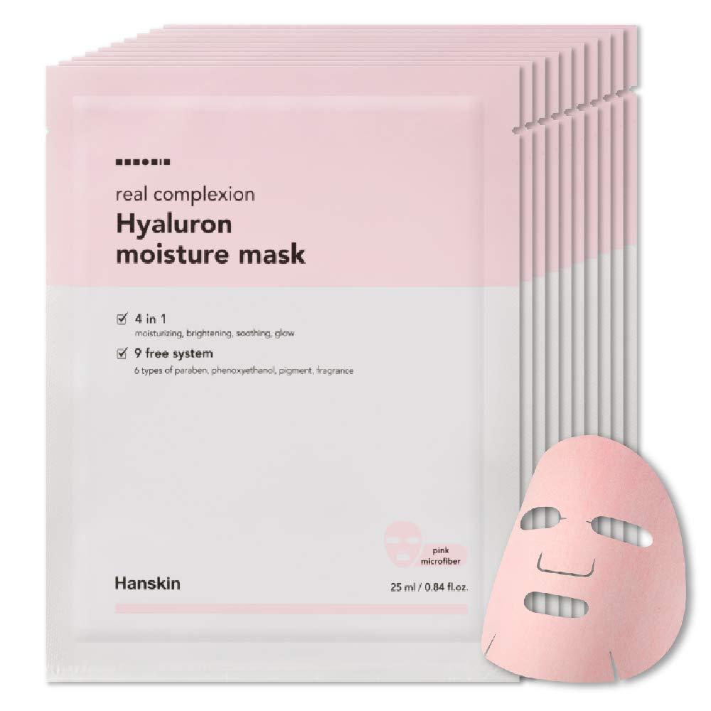 Hanskin - Hanskin Real Complexion Hyaluronic Moisture Mask - Hyaluronic Acid, Moisturizing, Glowing & Soft. Hanskin Official. [10 PK]