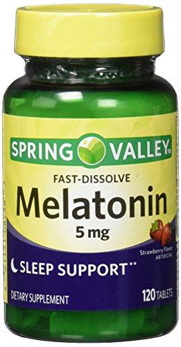 Equate Spring Valley Melatonin Strawberry Flavor Dietary Supplement Fast-Dissolve Tablets, 5mg, 120 count