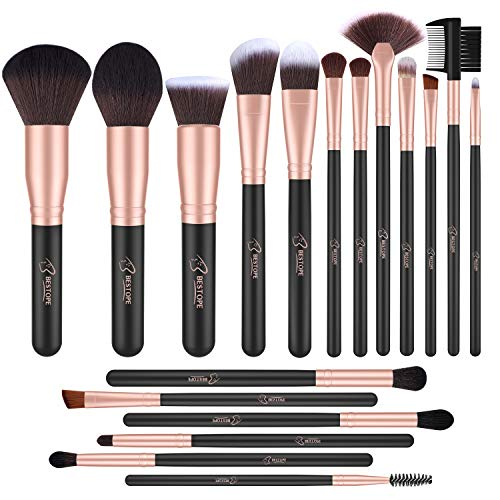 BESTOPE - BESTOPE Makeup Brushes 18 PCs Makeup Brush Set Premium Synthetic Foundation Powder Kabuki Brushes Concealers Eye Shadows Make Up Brushes Kit