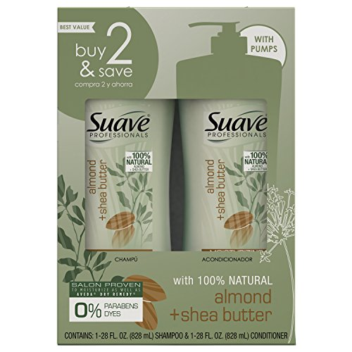 Suave - Suave Professionals Moisturizing Shampoo and Conditioner, Almond + Shea Butter, 28 oz, (Twin Pack)