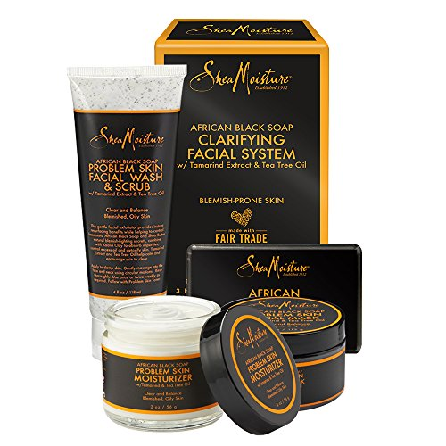 Shea Moisture - SheaMoisture African Black Soap Facial System Kit |4oz. Facial Wash & Scrub |4 oz. Problem Skin Facial Mask | 2oz. Moisturizer | 3.5oz Bar Soap