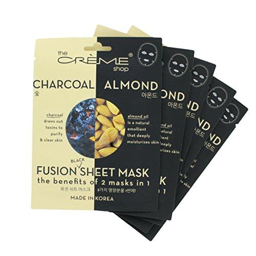The Crème Shop - The Crème Shop - Charcoal & Almond Black Sheet Mask (5 Mask Pack)