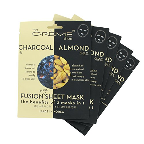 The Crème Shop - The Crème Shop - Charcoal & Almond Black Sheet Mask (5 Mask Pack)