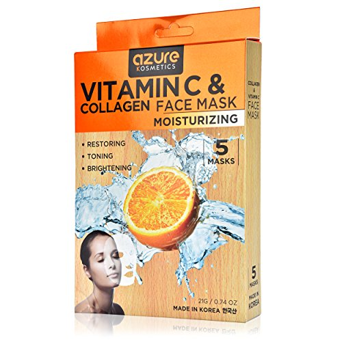 Azure Cosmetics Collagen and Vitamin C Moisturizing Face Mask by Azure - Reduces Signs of Aging | Improve Skin's Elasticity | Hydrates Your Skin| - 5 Pack