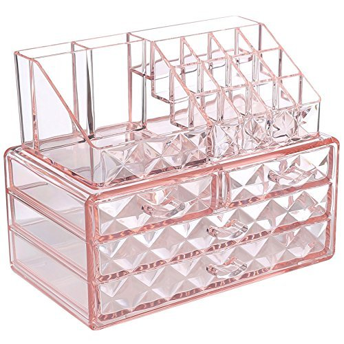 Ikee Design - Ikee Design Pink Diamond Pattern Jewelry & Cosmetic Storage Display Boxes Two Pieces Set.