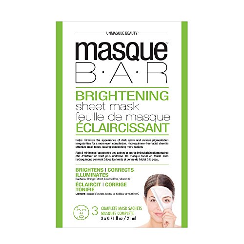 masque BAR - masque BAR Brightening Sheet Mask - Helps Minimize Dark Spots, Pigmentation for Even Complexion, 3 Set