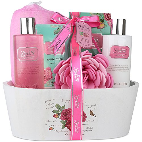 Lovestee Relaxing Bath Spa Kit For Men, Women and Teens, Gift Set Bath And Body Works- Natural English Rose Aromatherapy Spa Gift Basket Includes Shower Gel, Bubble Bath, Body Lotion, Bath Salt, Sponge