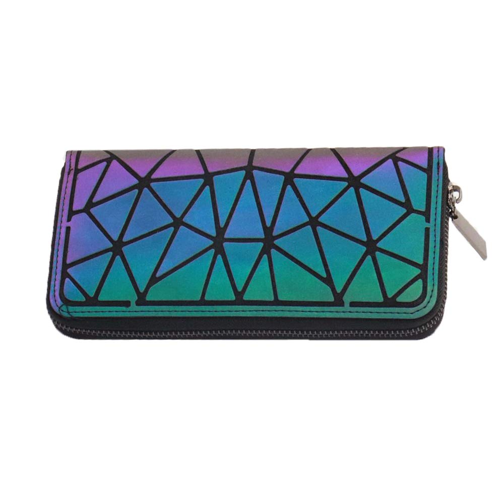 Magibag - Magibag Women Geometric Rhomboids Lattice Wallet Iridescent Purse Long Coin Purse Clutch Cell Phone Case (Triangle)