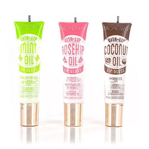 Broadway - Broadway Vita-Lip Clear Lip Gloss 0.47oz/14ml (3PCS - Mint & Coconut & Rosehip Oil)