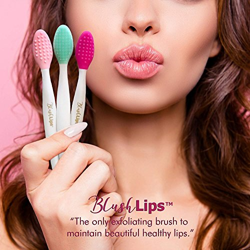 BlushLips - BlushLips, 2-1 Double-Sided Silicone Exfoliating Lip Brush Tool, for Smoother and Fuller Lip Appearance. (Pink)