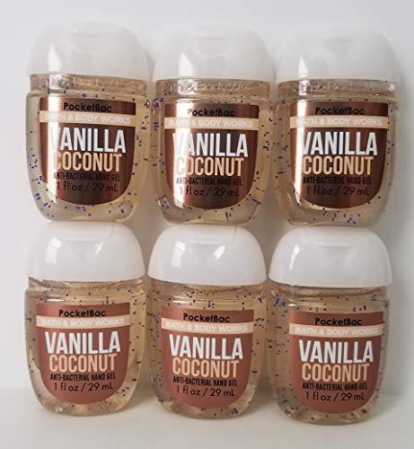 Bath & Body Works - Bath and Body Works 6 Pack Vanilla Coconut Pocketbac Hand Sanitizer 1 Oz. Travel Size Body Cream 1 Oz.