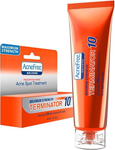 AcneFree - AcneFree Terminator 10 Acne Spot Treatment with Benzoyl Peroxide 10% Maximum Strength Acne Cream Treatment, 1 Ounce - Pack Of 1
