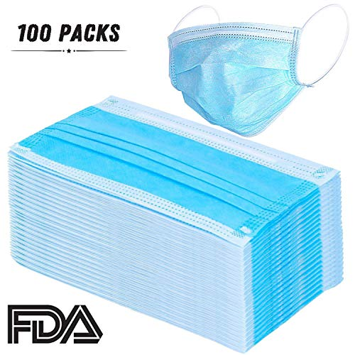 Pruk - 100 Pcs Disposable Earloop Face Masks Dental Surgical Hypoallergenic Breathability Comfort-Great For People With Allergies And The Flu