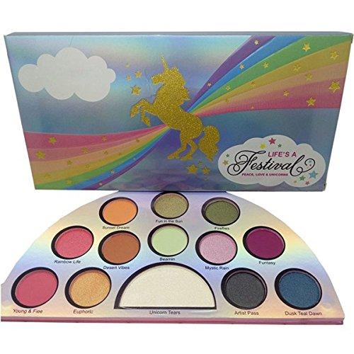 MEZHLZ 13 Colors Life's A Festival Unicorn Eyeshadow Pallete Matte Shimmer Pigmented Powder Eye Shadow Palette Glitter Makeup Maquiagem Unicorn Festival