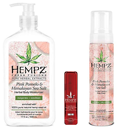 Hempz - Hempz Pink Pomelo & Himalayan Sea Salt Herbal Body Moisturizer, Wash & Limited Edition Lip Balm Trio Set