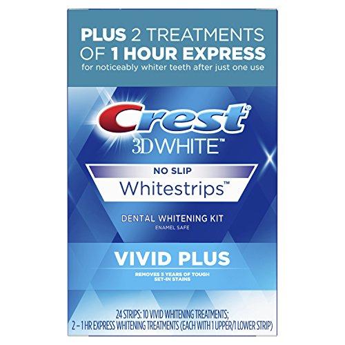 Crest - Crest 3D White Whitestrips Vivid Plus 12 Treatments – 10 Treatments Vivid Whitestrips + 2 Treatments 1 Hour Express Dental Teeth Whitening Kit