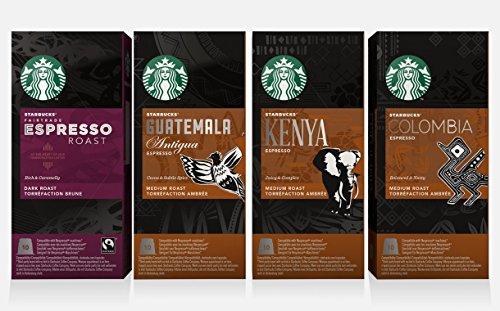 Starbucks - Starbucks Capsules for Nespresso OriginalLine: Colombia, Espresso, Guatemala, Kenya (40 count) Variety Assortment
