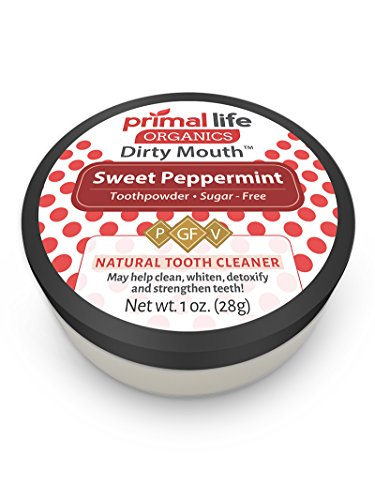 Primal Life Organics - Dirty Mouth Organic Sweet Toothpowder BEST All Natural - Tooth Powder Gently Polishes, Detoxifies, Re-Mineralizes and Strengthens Teeth - Primal Life Organics (Sweet Peppermint 1oz)