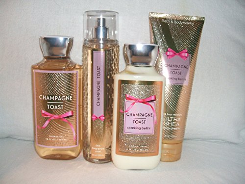 Bath & Body Works - Bath & Body Works CHAMPAGNE TOAST set of 4 -- fine fragrance mist 8 fl oz., shower gel 10 fl oz.,body lotion 8 fl oz., ultra shea body cream 8 oz.