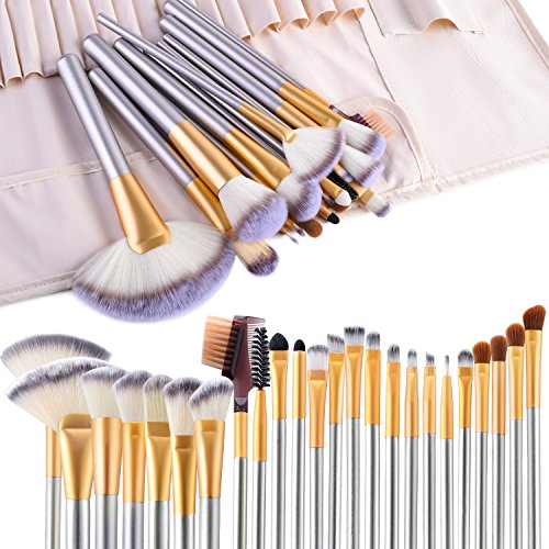 VANDER LIFE - Make up Brushes, VANDER LIFE 24pcs Premium Cosmetic Makeup Brush Set for Foundation Blending Blush Concealer Eye Shadow, Cruelty-Free Synthetic Fiber Bristles, Travel Makeup bag Included, Champagne