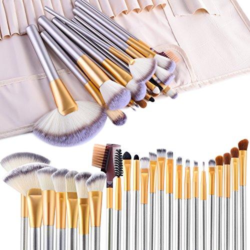 VANDER LIFE - Make up Brushes, VANDER LIFE 24pcs Premium Cosmetic Makeup Brush Set for Foundation Blending Blush Concealer Eye Shadow, Cruelty-Free Synthetic Fiber Bristles, Travel Makeup bag Included, Champagne