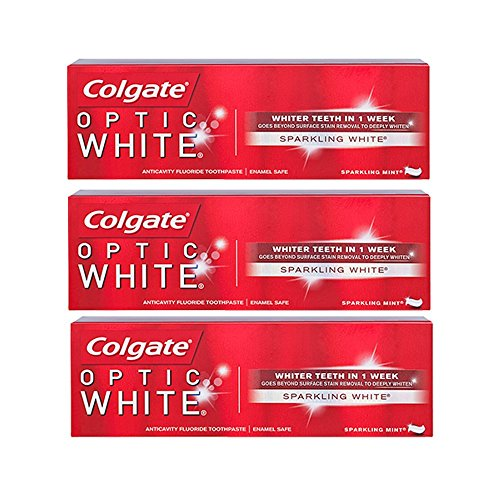 Optic White - Colgate Optic White Toothpaste, Sparkling Mint, 3.5 Ounce (Pack of 3)