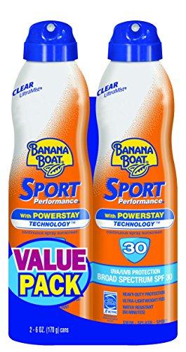 Banana Boat Banana Boat Sunscreen Sport Performance Broad Spectrum Sunscreen Spray, SPF 30, 6 ounces (Pack of 2)